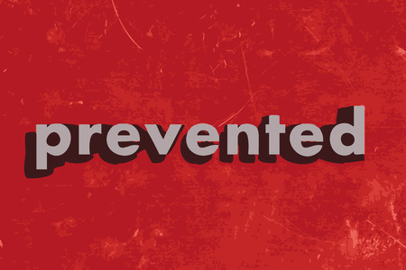 prevented: prevented vector word on red concrete wall