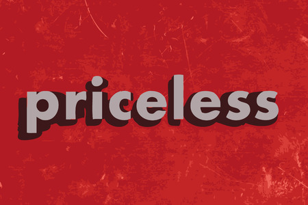 priceless: priceless vector word on red concrete wall