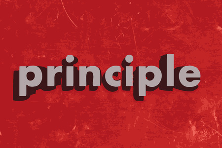 principle: principle vector word on red concrete wall
