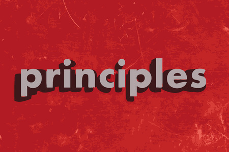 principles: principles vector word on red concrete wall
