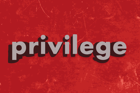 privilege: privilege vector word on red concrete wall