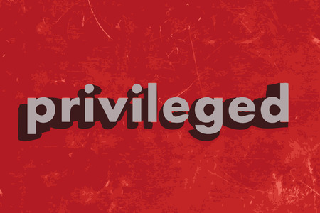privileged: privileged vector word on red concrete wall Illustration