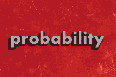 probability: probability vector word on red concrete wall Illustration