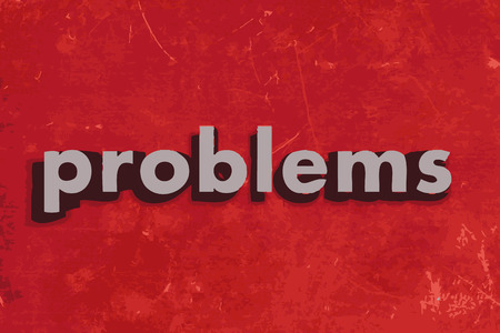 problems: problems vector word on red concrete wall Illustration