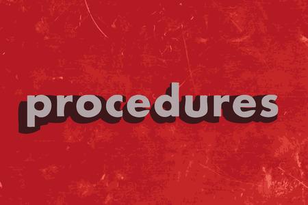 procedure: procedure parola vettore sul muro di cemento rosso
