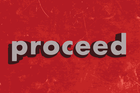 proceed: proceed vector word on red concrete wall Illustration