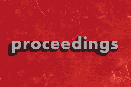 proceedings: proceedings vector word on red concrete wall