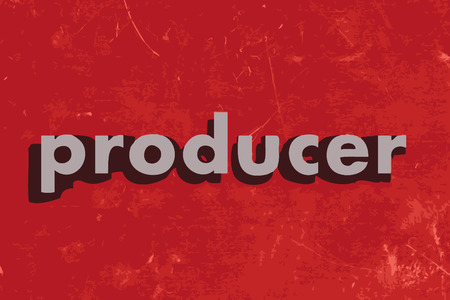 producer: producer vector word on red concrete wall Illustration