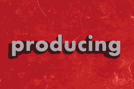 producing: producing vector word on red concrete wall Illustration