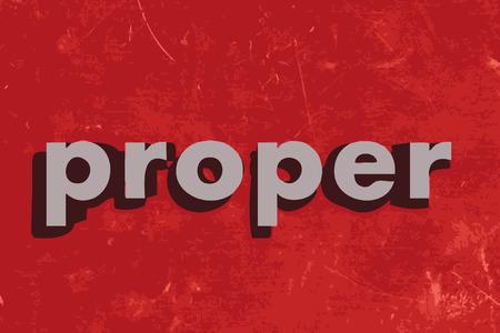 proper: corretta parola vettore sul muro di cemento rosso