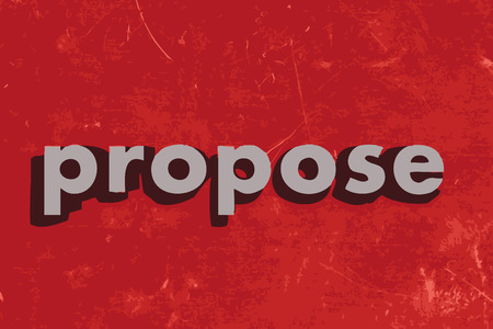 propose: propose vector word on red concrete wall