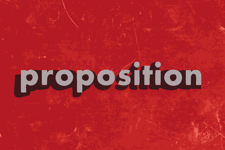 proposition: proposition vector word on red concrete wall