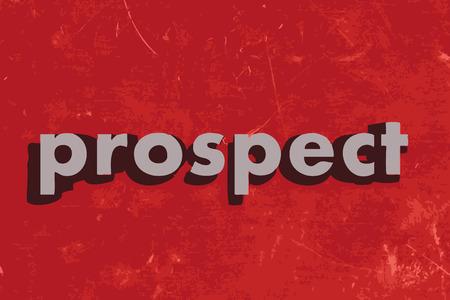 prospect: prospect mot de vecteur sur mur de b�ton rouge Illustration