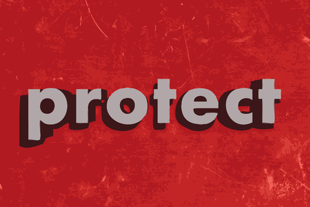 protect: protect vector word on red concrete wall