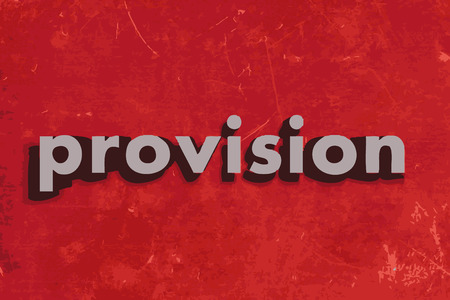 provision: provision vector word on red concrete wall