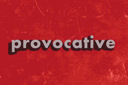 provocative: provocative vector word on red concrete wall