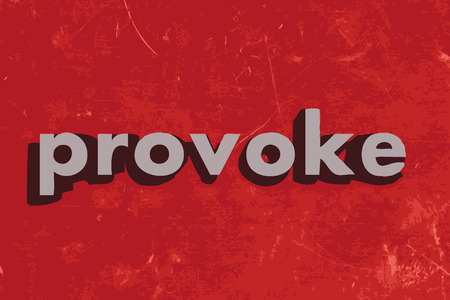 provoke: provoke vector word on red concrete wall