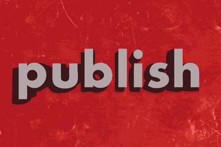 publish: publish vector word on red concrete wall