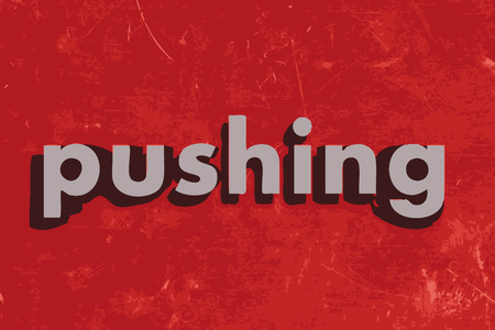 pushing: pushing vector word on red concrete wall Illustration