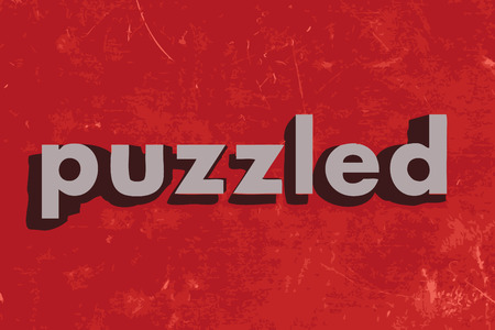 puzzled: puzzled vector word on red concrete wall Illustration