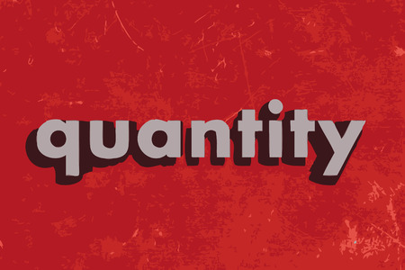 quantity: quantity vector word on red concrete wall