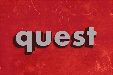 quest: quest vector word on red concrete wall Illustration