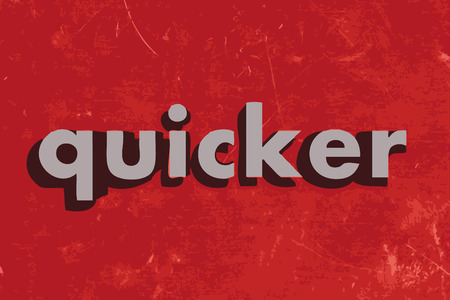 quicker: quicker vector word on red concrete wall Illustration