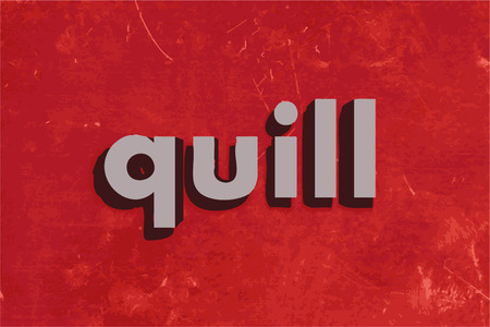 quill: quill vector word on red concrete wall
