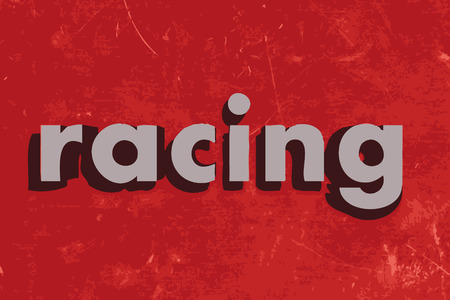racing: racing vector word on red concrete wall