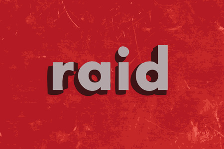 raid: raid vector word on red concrete wall Illustration