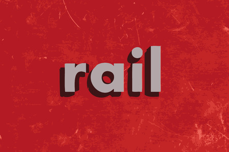 rail: rail vector word on red concrete wall