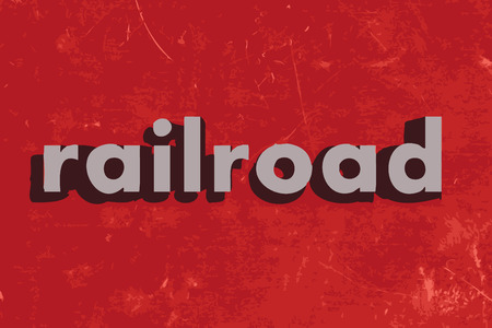 railroad: railroad vector word on red concrete wall