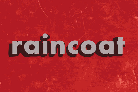 raincoat: raincoat vector word on red concrete wall