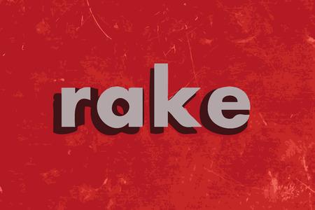 rake: rake vector word on red concrete wall