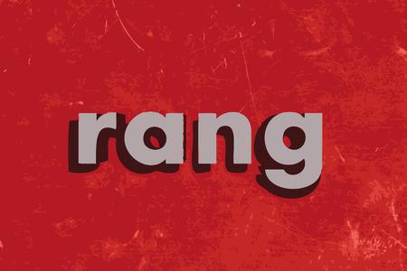 rang: rang vector word on red concrete wall