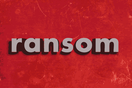 ransom: ransom vector word on red concrete wall