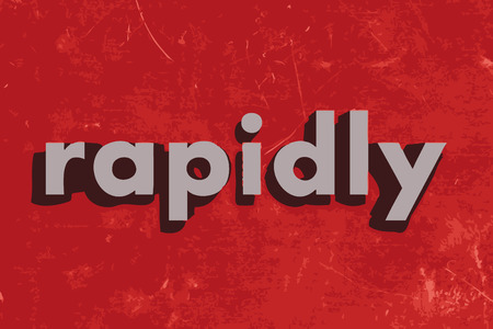 rapidly: rapidly vector word on red concrete wall Illustration