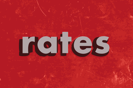 rates: rates vector word on red concrete wall