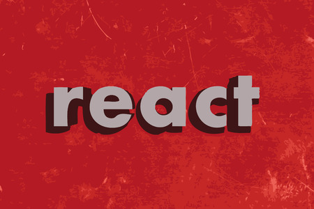 react: react vector word on red concrete wall Illustration