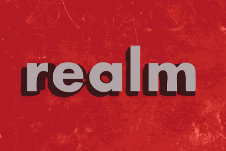 realm: realm vector word on red concrete wall Illustration