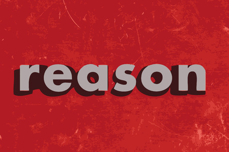 reason: reason vector word on red concrete wall Illustration