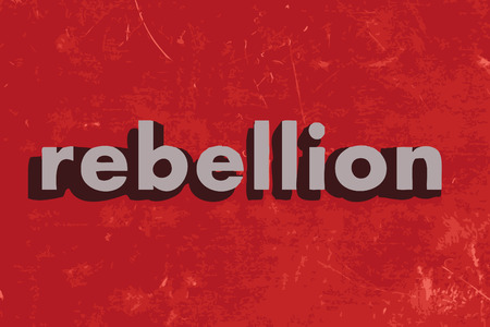 rebellion: rebellion vector word on red concrete wall