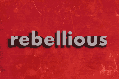 rebellious: rebellious vector word on red concrete wall