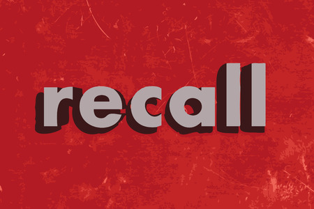 recall: recall vector word on red concrete wall