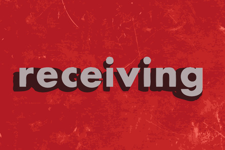 receiving: receiving vector word on red concrete wall Illustration