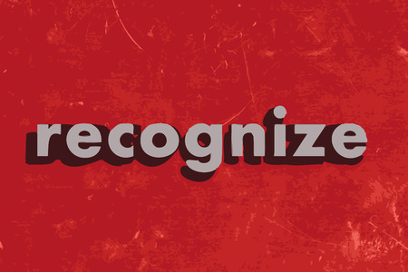 recognize: recognize vector word on red concrete wall Illustration