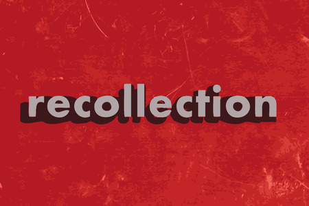 recollection: recollection vector word on red concrete wall Illustration