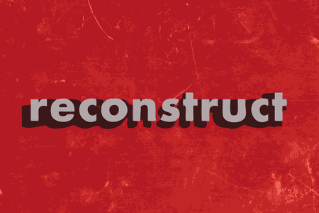 reconstruct: reconstruct vector word on red concrete wall Illustration