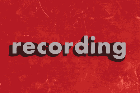 recording: recording vector word on red concrete wall Illustration