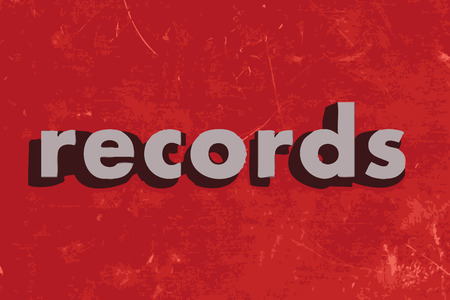 on records: records vector word on red concrete wall